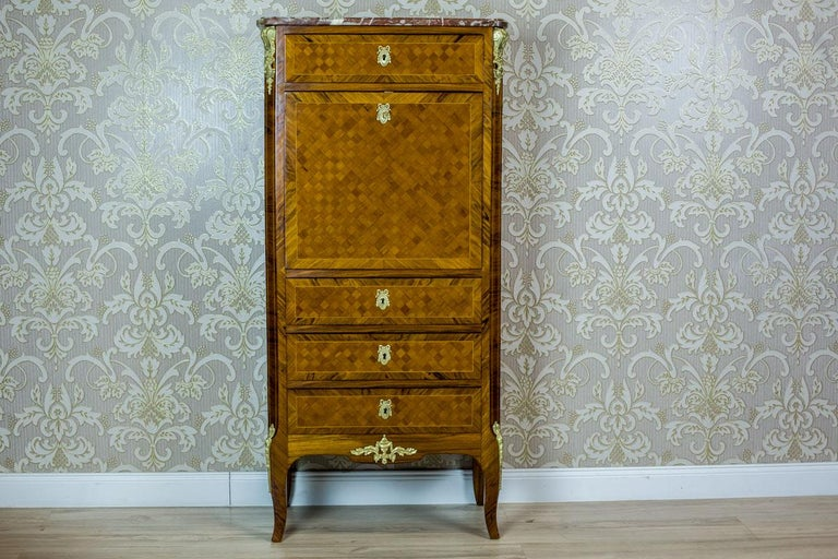 19th Century French Secretary Desk in the Louis XV Style In Good Condition In Opole, PL