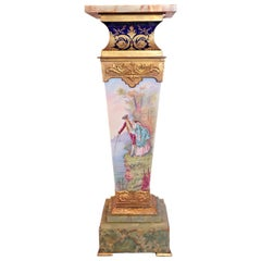 19th Century French Serves Porcelain and Gilt Pedestal Onyx Top