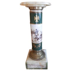 19th Century French Serve's Porcelain Pedestal with Napoleonic Hand Paintedmotif