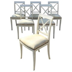19th Century French Set of 6 Dining Chairs with Original Upholstered Seat, 1890s