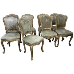 19th Century French Set of 8 Gilt Wooden Chairs with Original Fabric, 1890s