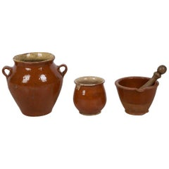 19th Century French Set of Chestnut Glazed Pottery