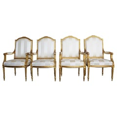 19th Century French Set of Four Gilded Armchairs