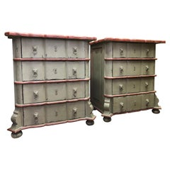 19th Century French Set of Hand Painted Carved Side Chests of Drawers