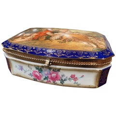 19th Century French Sèvres Cobalt Porcelain and Gilt Brass Casket Jewelry Box