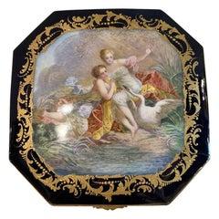 19th Century French Sèvres Cobalt Porcelain and Gilt Bronze Casket Jewelry Box