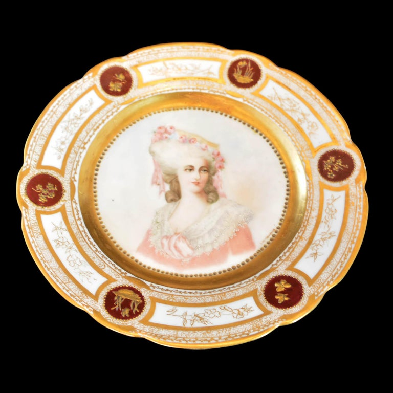 19th Century French Sevres Painted & Gilt Portrait Plate Haviland Numbered For Sale 5