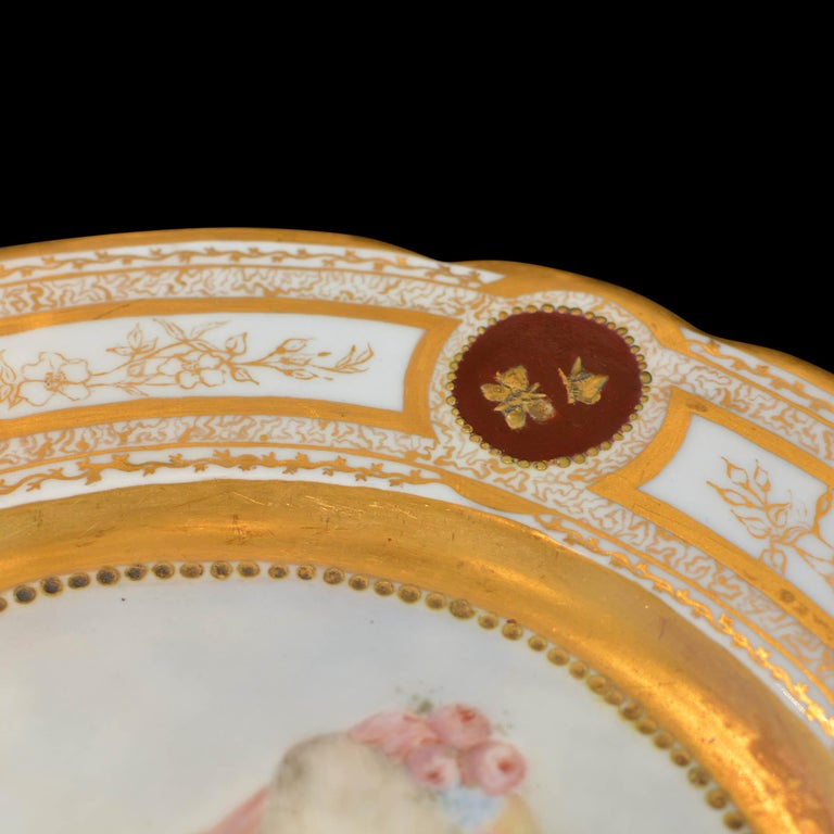 Porcelain 19th Century French Sevres Painted & Gilt Portrait Plate Haviland Numbered For Sale