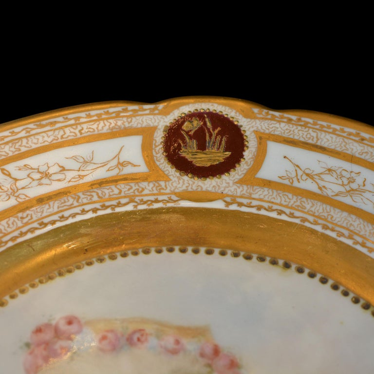 19th Century French Sevres Painted & Gilt Portrait Plate Haviland Numbered For Sale 1