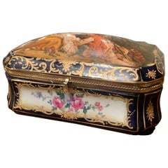 19th Century French Sèvres Painted Porcelain and Gilt Brass Casket Jewelry Box