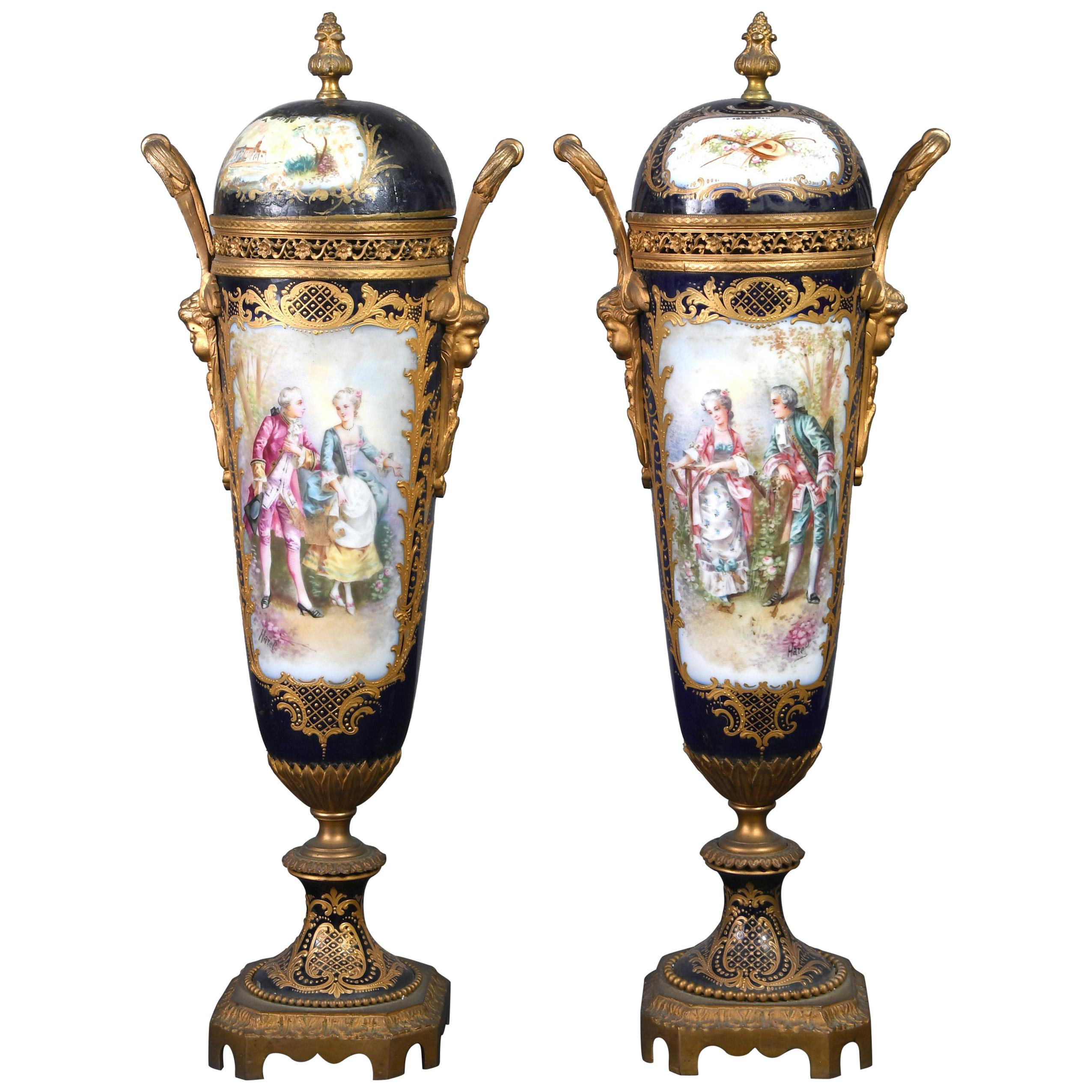 19th Century French Sevres Pair of Porcelain Bronze Covered Vases