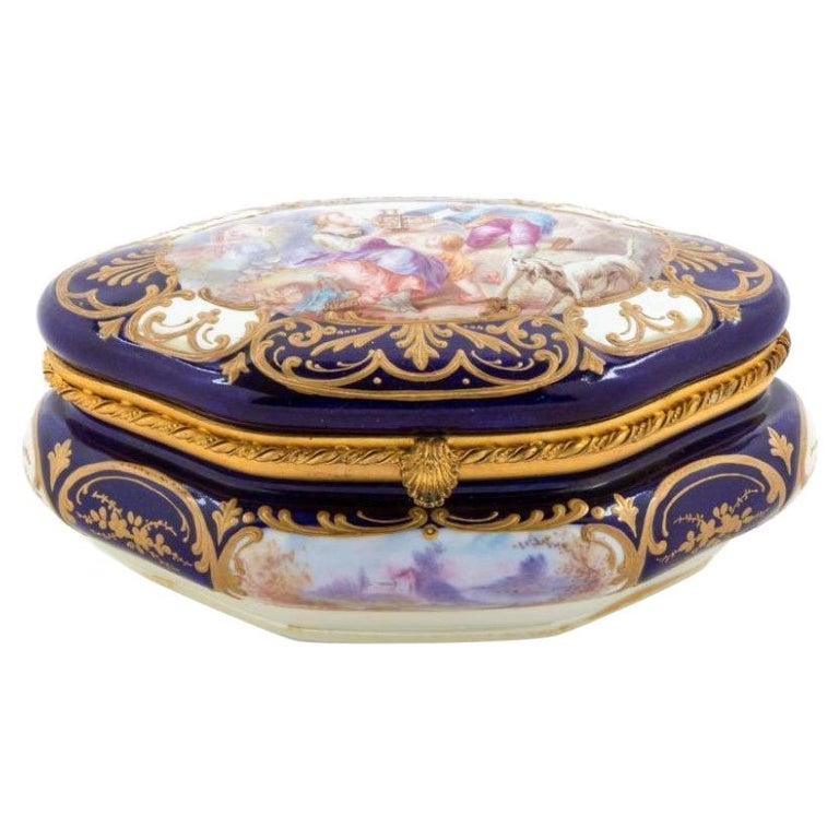 19th Century French Sevres Porcelain Box For Sale