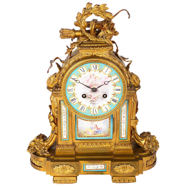 19th Century French Sevres Style Ormolu Mantel Clock