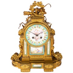 19th Century French Sevres Style Ormolu Mantel Clock