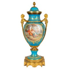 19th Century French Sevres Style Porcelain Lidded Vase