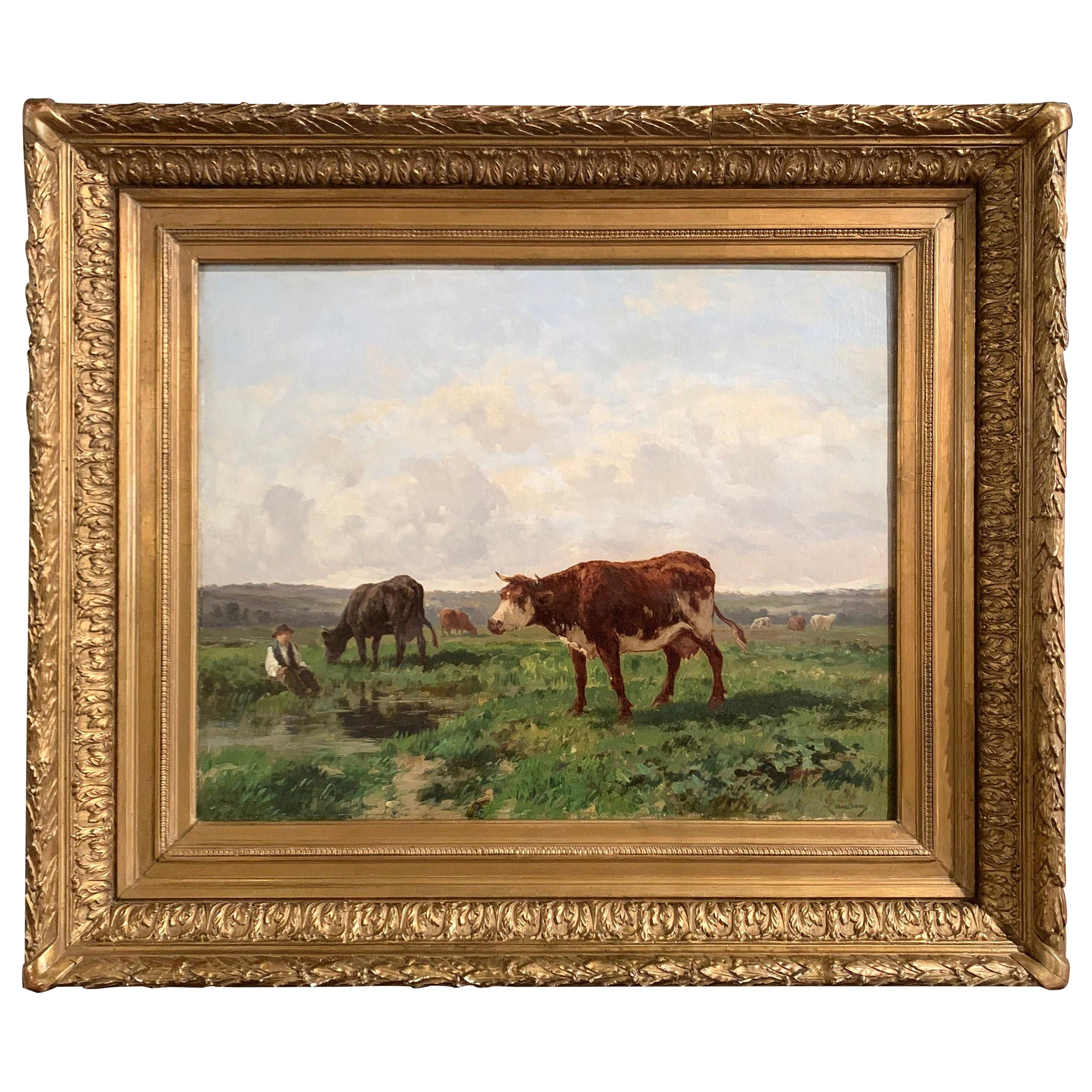 19th Century French Cows Oil Painting in Carved Gilt Frame Signed C. Quinton