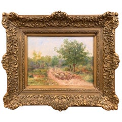 19th Century French Sheep Oil Painting in Carved Gilt Frame Signed F. Chaigneau