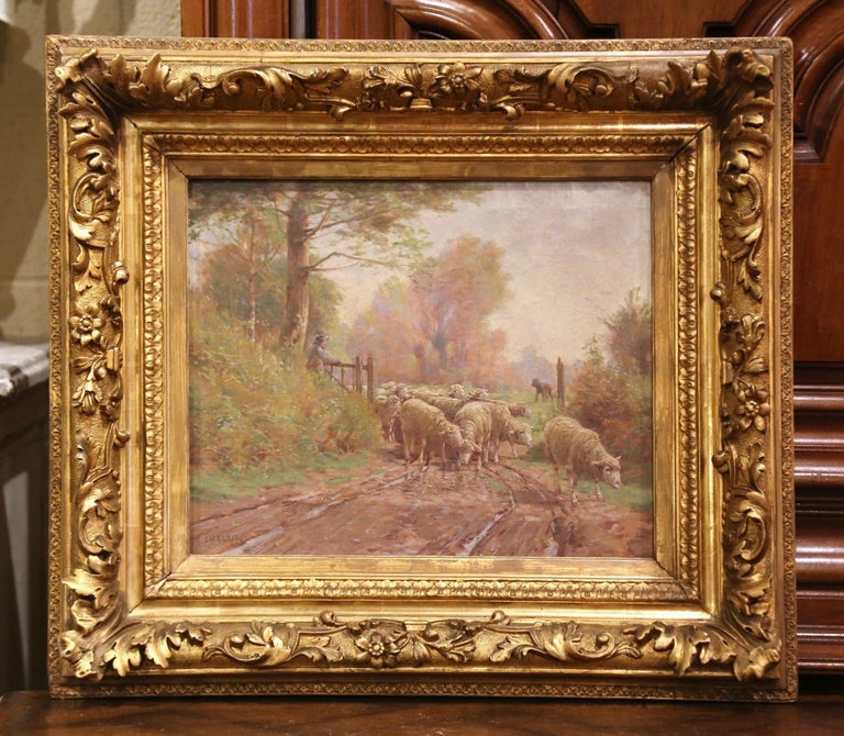Giltwood 19th Century French Sheep Painting in Carved Gilt Frame Signed Charles Clair For Sale