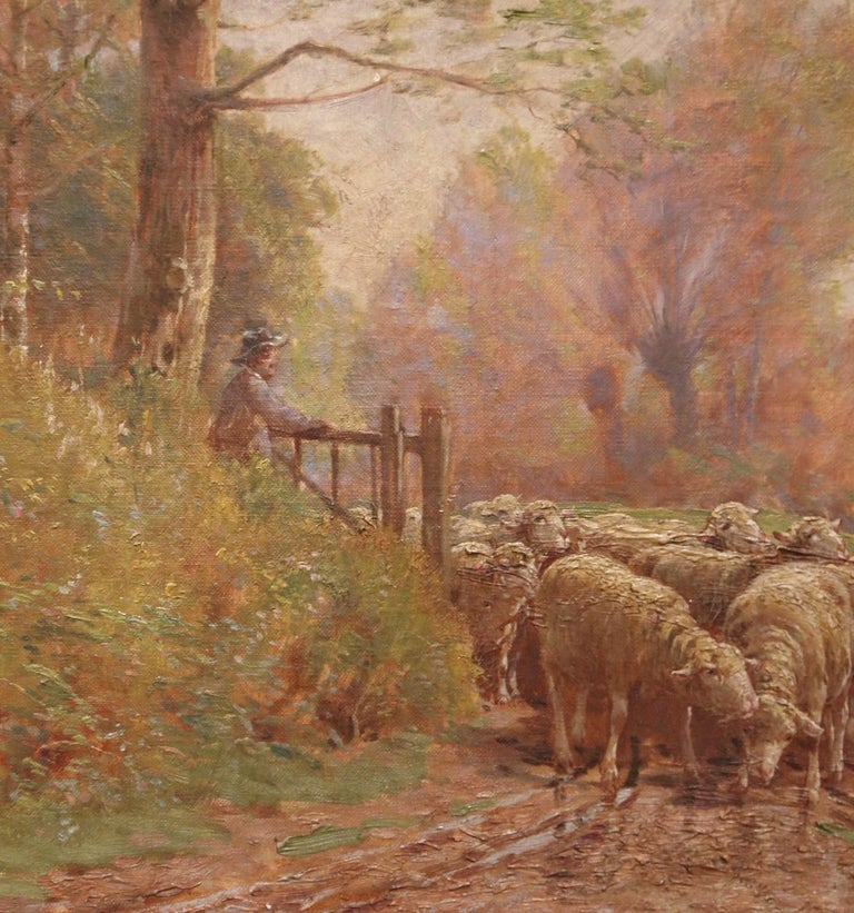 19th Century French Sheep Painting in Carved Gilt Frame Signed Charles Clair For Sale 1