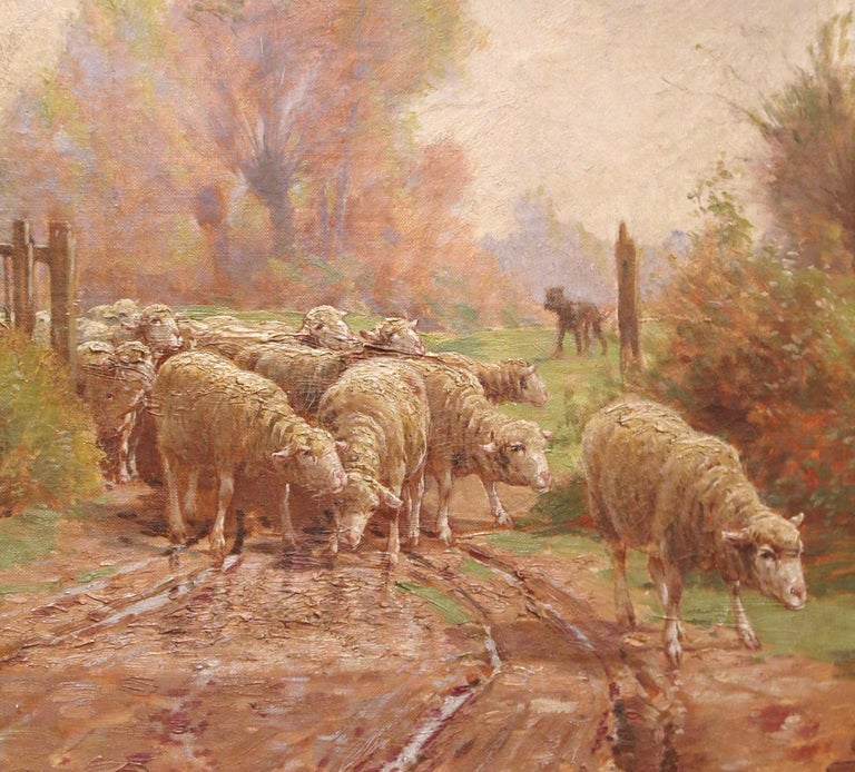 19th Century French Sheep Painting in Carved Gilt Frame Signed Charles Clair For Sale 2
