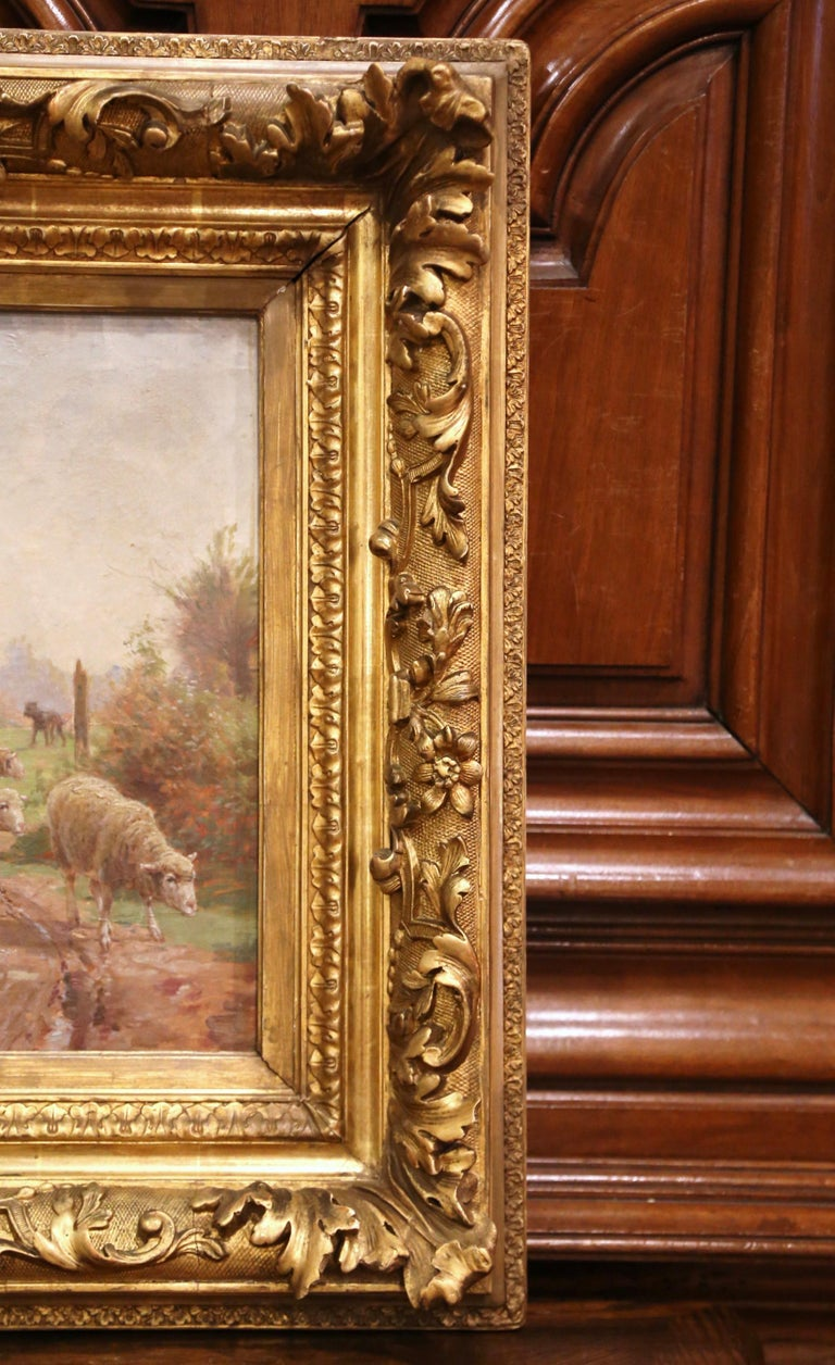 19th Century French Sheep Painting in Carved Gilt Frame Signed Charles Clair For Sale 3