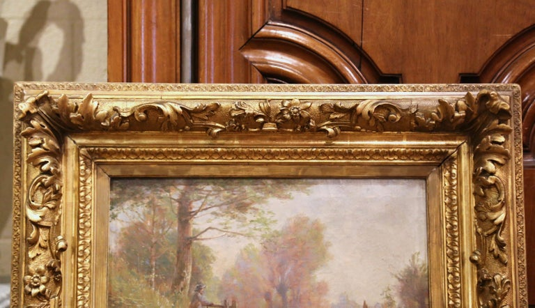 19th Century French Sheep Painting in Carved Gilt Frame Signed Charles Clair For Sale 4