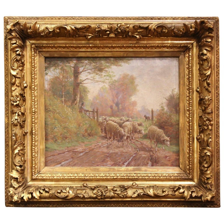 19th Century French Sheep Painting in Carved Gilt Frame Signed Charles Clair For Sale