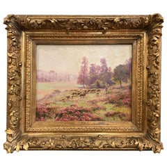 19th Century French Sheep Painting in Original Gilt Frame Signed E. Pail