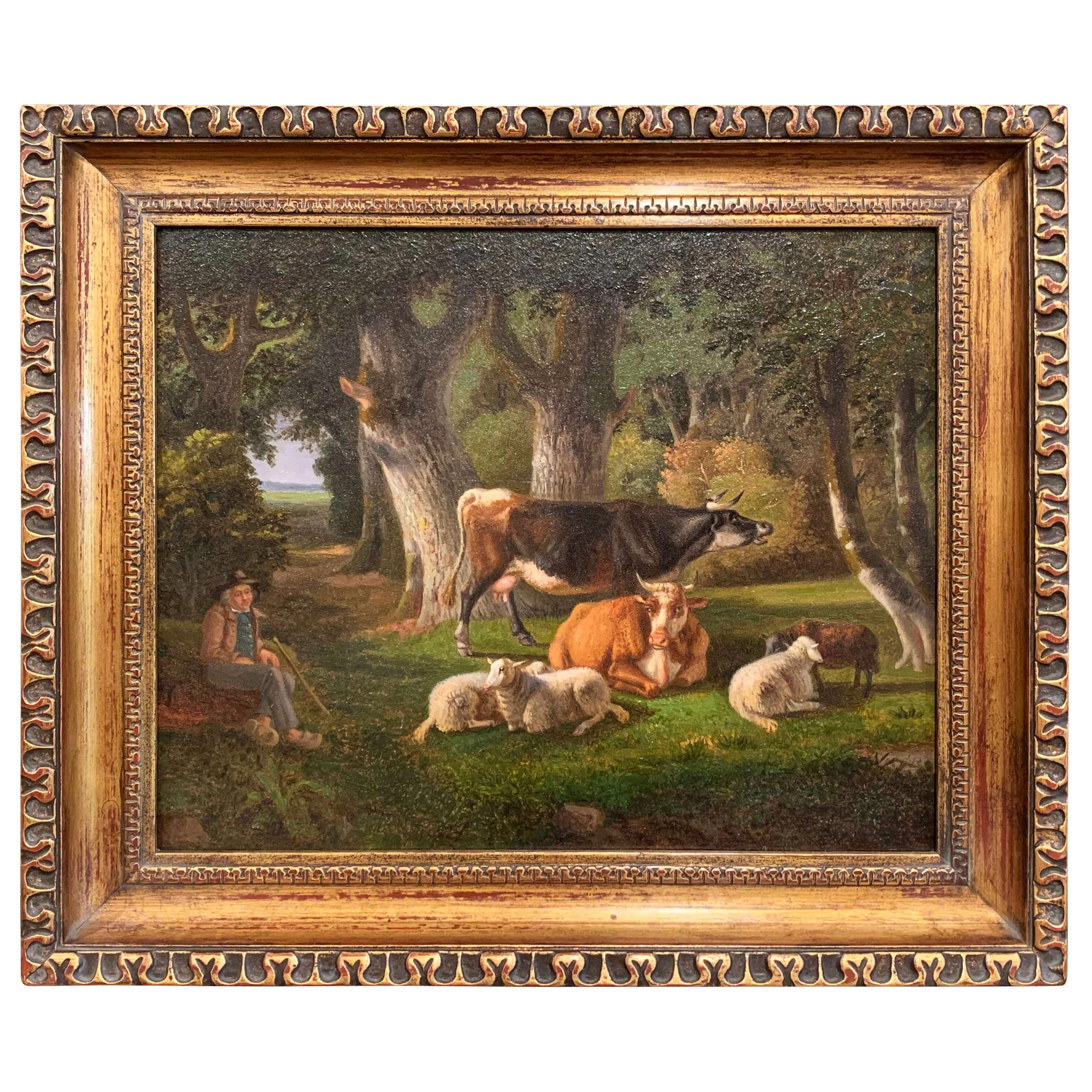 19th Century French Sheep Painting on Board in Carved Giltwood Frame