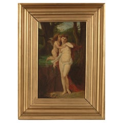 19th Century French Shool, Cupid & Psyche, Oil on Panel, Framed