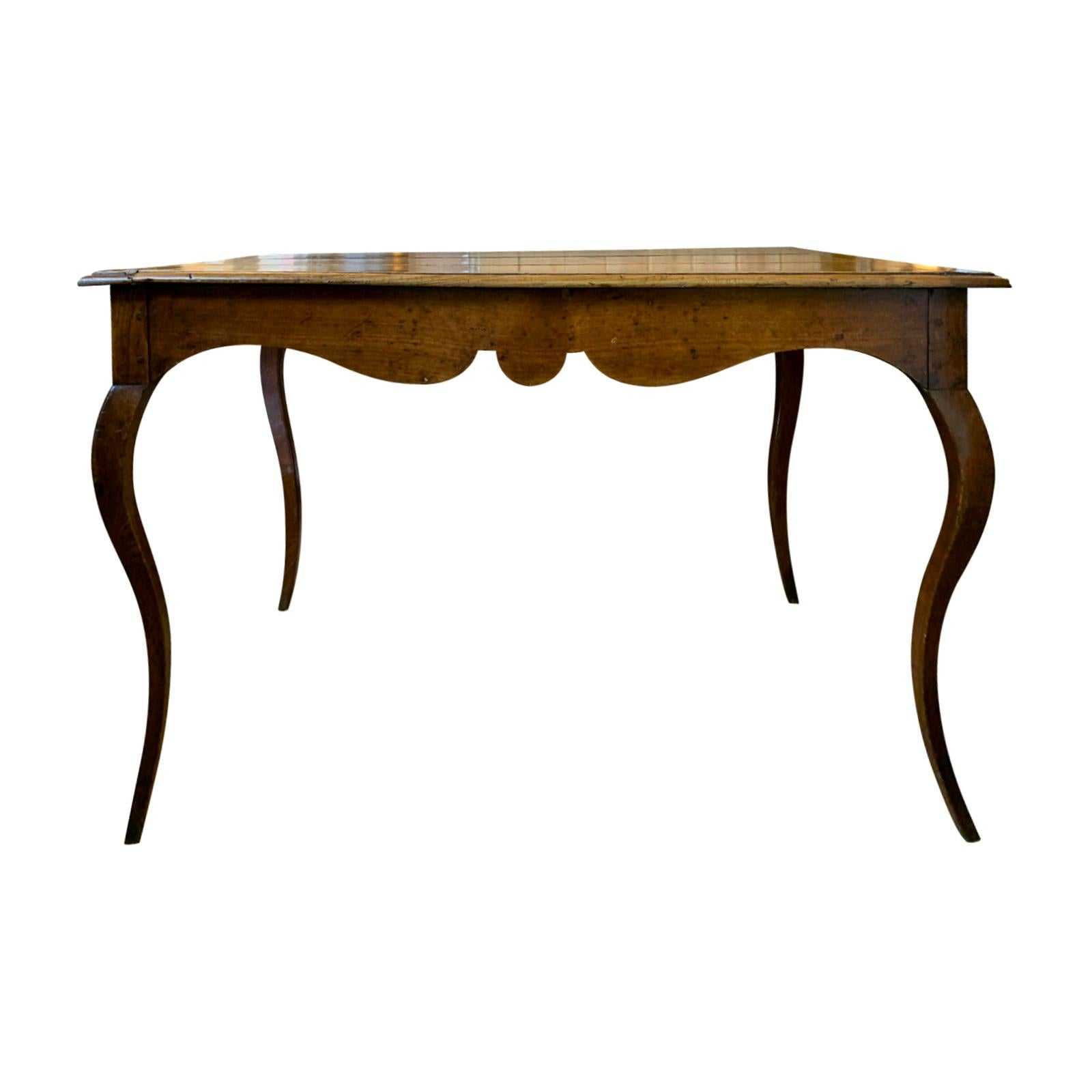 19th Century French Side Table with Scalloped Apron, Cabriole Legs