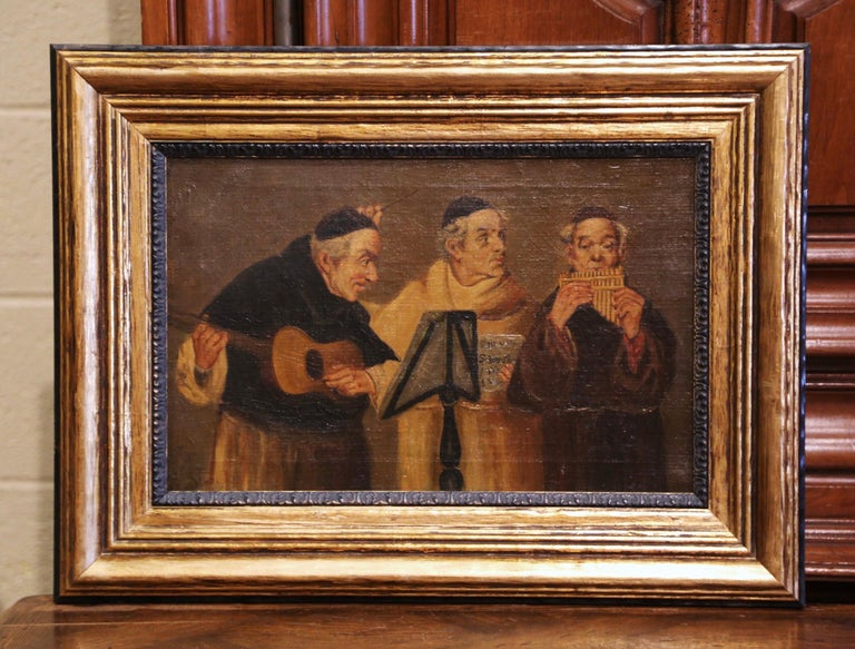 19th Century French Signed Monks Oil on Canvas Painting in Gilt Frame In Excellent Condition For Sale In Dallas, TX