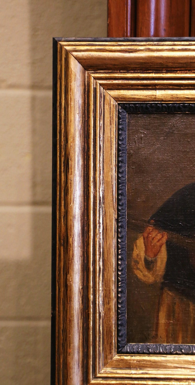 19th Century French Signed Monks Oil on Canvas Painting in Gilt Frame For Sale 1