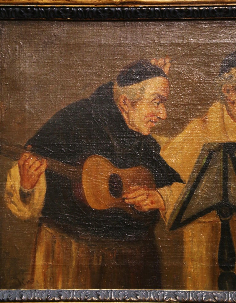 19th Century French Signed Monks Oil on Canvas Painting in Gilt Frame For Sale 2