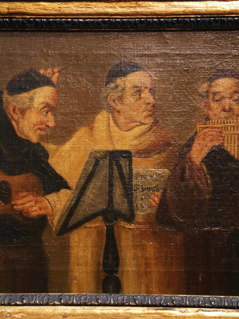 19th Century French Signed Monks Oil on Canvas Painting in Gilt Frame For Sale 3