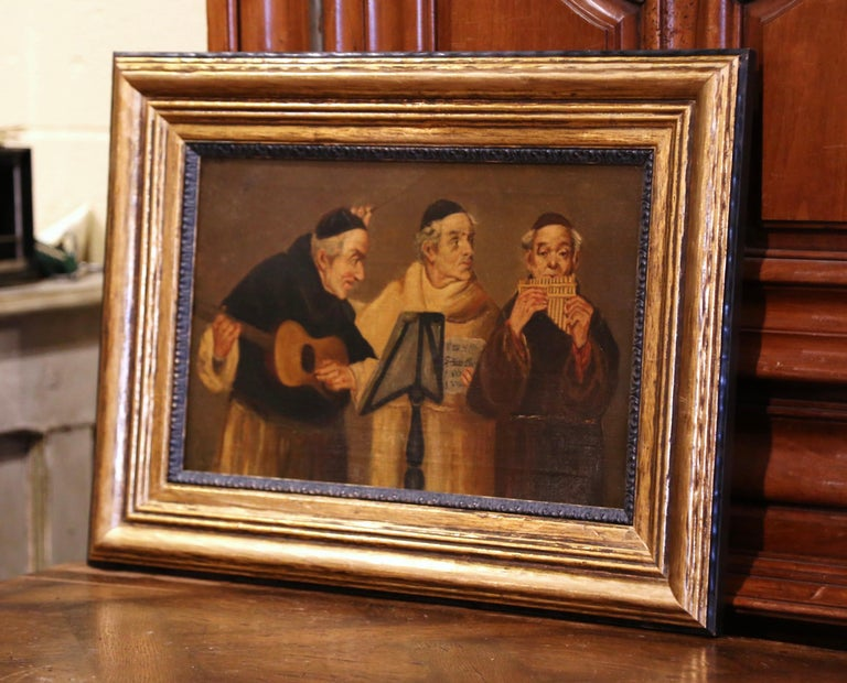 19th Century French Signed Monks Oil on Canvas Painting in Gilt Frame For Sale 4