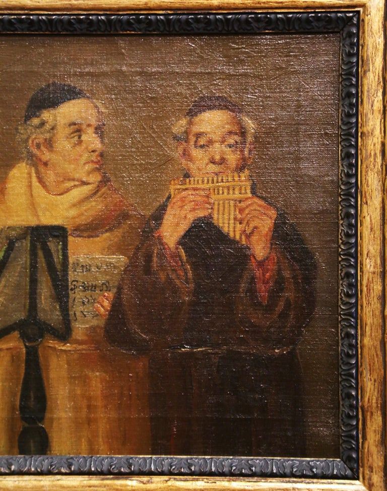 19th Century French Signed Monks Oil on Canvas Painting in Gilt Frame For Sale 5
