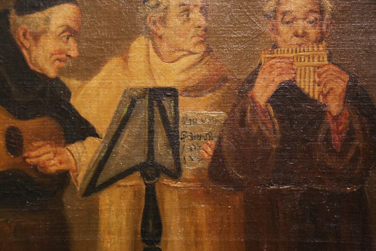 19th Century French Signed Monks Oil on Canvas Painting in Gilt Frame For Sale 6