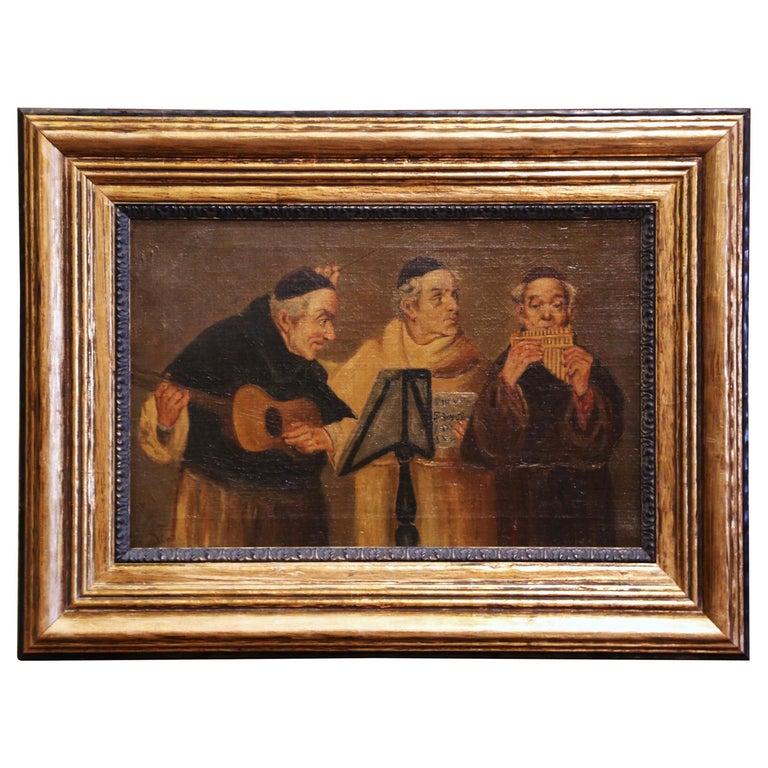 19th Century French Signed Monks Oil on Canvas Painting in Gilt Frame For Sale