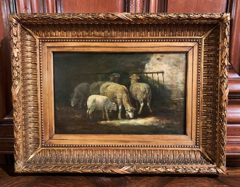 Giltwood 19th Century French Signed Oil on Board Sheep Painting in Carved Gilt Frame  For Sale