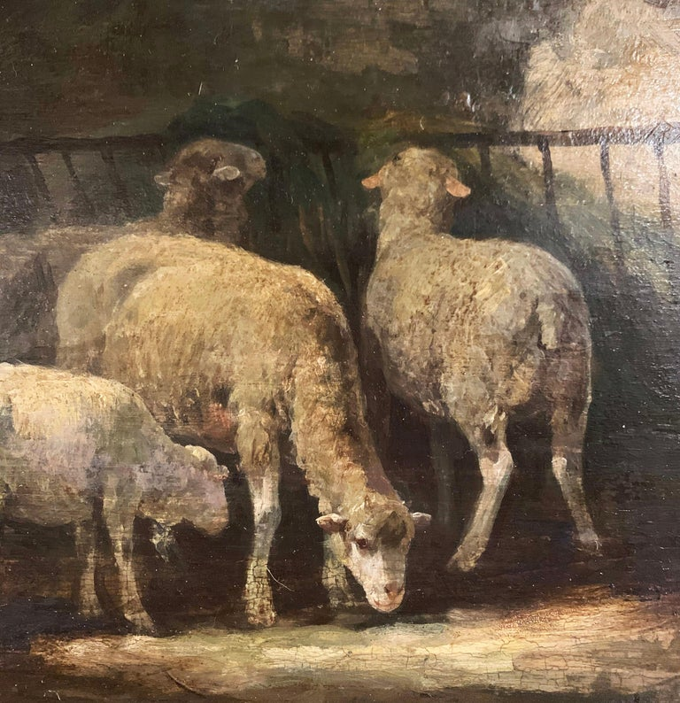 19th Century French Signed Oil on Board Sheep Painting in Carved Gilt Frame  For Sale 2