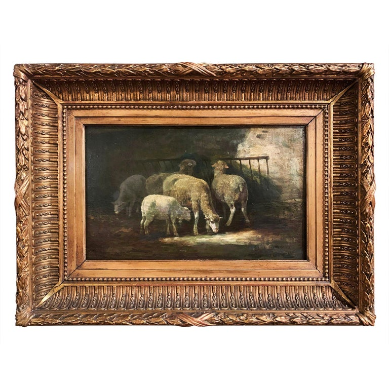 19th Century French Signed Oil on Board Sheep Painting in Carved Gilt Frame  For Sale