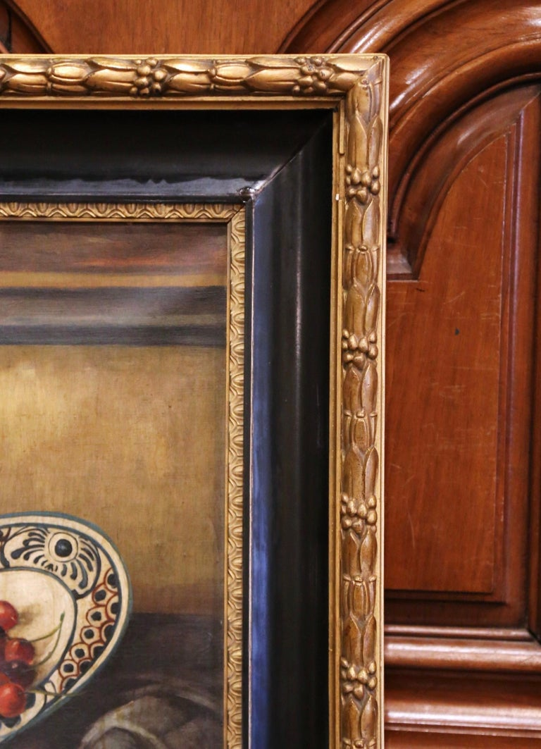 19th Century French Signed Oil on Canvas Painting in Carved Gilt Frame For Sale 3