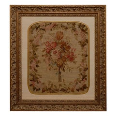 19th Century French Silk Aubusson Framed Tapestry 'Gold and Beige Tones'