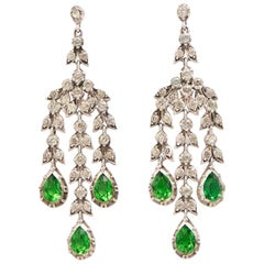 19th Century French Silver and Clear & Emerald Paste Girandole Earrings C.1880s