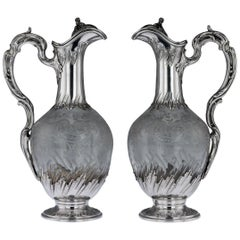 19th Century French Silver and Glass Pair of Claret Jugs, circa 1890