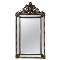 19th Century French Silver Leaf Cushion Mirror with Cherubs