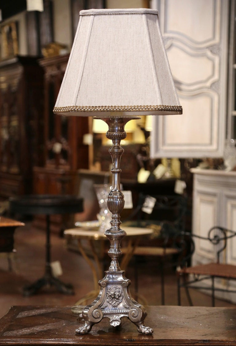 19th Century French Silver Plated Brass Candlestick Mounted into Table Lamp In Excellent Condition For Sale In Dallas, TX