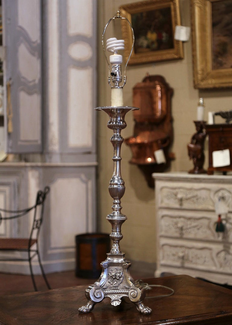 19th Century French Silver Plated Brass Candlestick Mounted into Table Lamp For Sale 1