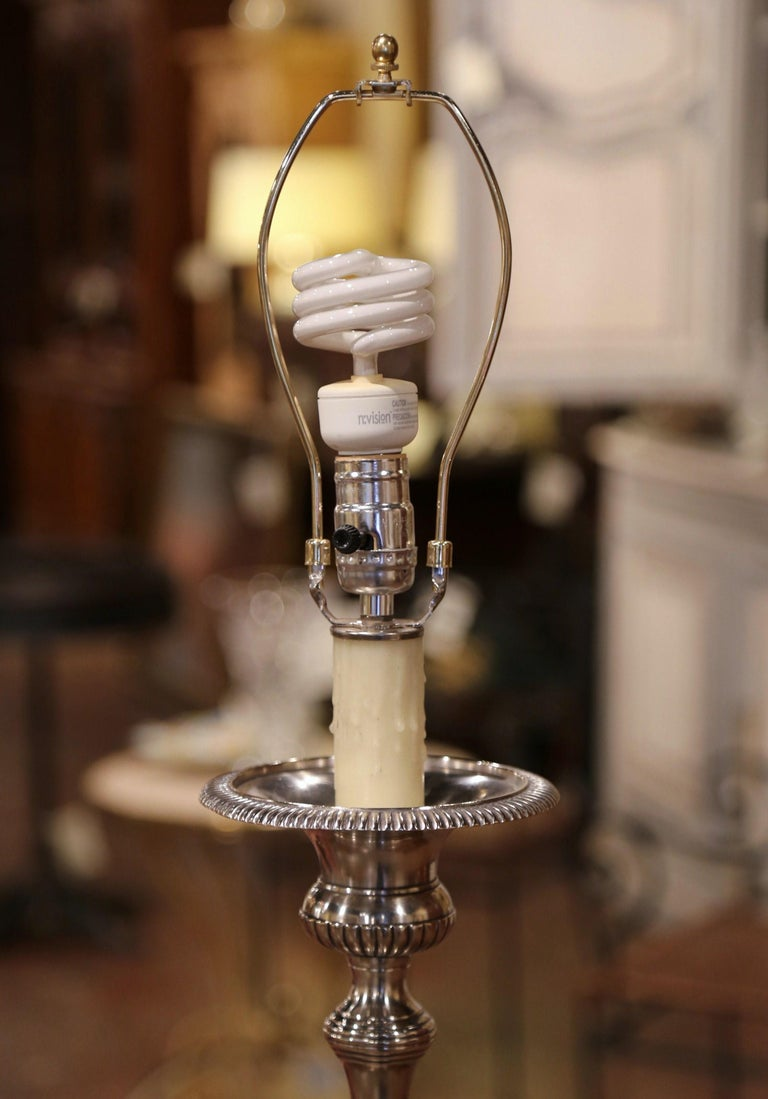 19th Century French Silver Plated Brass Candlestick Mounted into Table Lamp For Sale 2